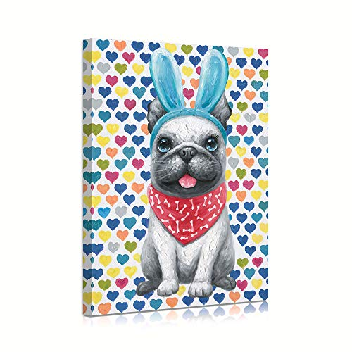 Yidepot French Bulldog Wall Art Canvas: Dog Wall Art Bulldog Wall Pictures with Cute Headband for Bathroom Teen Girls' Room with Hearted Background Framed Easy to Hang (12'x16'x1 Panel)