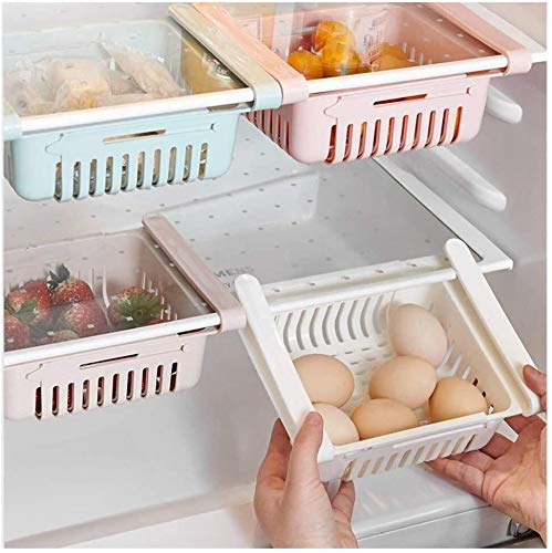 SCP Nevera Organizador de cajones, retráctil Cocina Nevera organizadores, Cajón ajustable Caja de almacenamiento frigorífico, frutas verduras Plataforma Holder, nevera Mantener ordenado, cabe la mayor