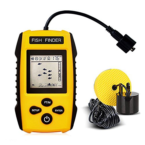 JJOBS Rastreador de Peces Portátil, Sonar para Pesca, con Cable Sensor transductor y Pantalla LCD, Detector de Profundidad, Buscador de Peces