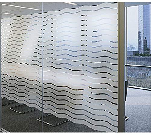 LEMON CLOUD Fensterfolie Sichtschutzfolie gestreifte Streifen Welle Selbstklebend Folie für Privatsphäre Büro, Wellen Muster 44.5 * 200CM