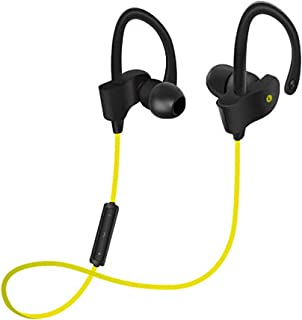 GLJJQMY Sports Bluetooth Headset Wireless 4.1 Hanging Ear Stereo Binaural Mobile Universal 4.0 Bluetooth Earphone (Color : Yellow)