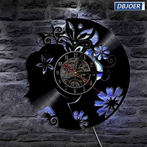 Regenbogen Nachtlicht Art Deco Wandlampe aus Vinyl Schallplatte schöne Damen Chrono Uhr LED Schwarzlicht moderne Inneneinrichtung einzigartiges Geschenk Tischlampe brauner Schirm