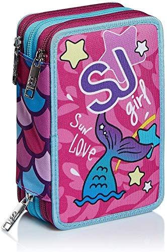 51nlvg4uAIL - Seven SJ Gang Sweet Wave - Estuche escolar con 3 cremalleras, con papelería