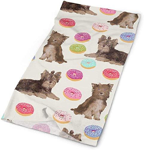 NA Chocolade Yorkie Donuts Stof Schattige Donut Honden Stof Schattige Chocolade Yorkie Honden Hond Stof Schattige Honden Hoofdbanden Bandana Cap Sjaal Gezicht Masker Nek Gaiter Hoofddoek Zon UV Bescherming