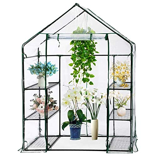 Parkland Compact Walk In Greenhouse PVC Plastic Garden Grow Green House with 4 Shelves