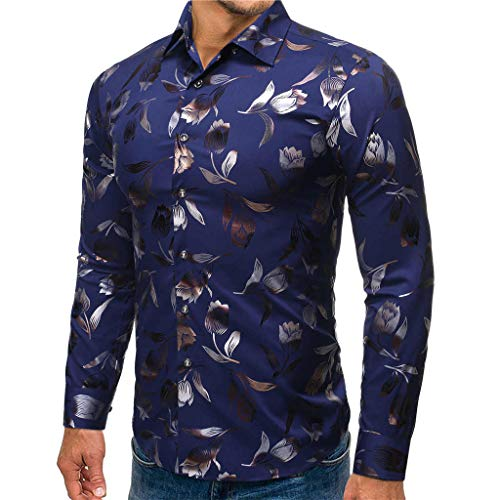 UINGKID Hemd Herren Slim-Fit Langarm-Hemden gestempelt Langarm-Shirt gedruckt Langarm-Bluse