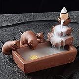 QOHG bruciatore di incenso fatto a mano in porcellana bruciatore di incenso a riflusso bruciatore di incenso a cono porta in legno di sandalo ornamenti per aromaterapia per la casa