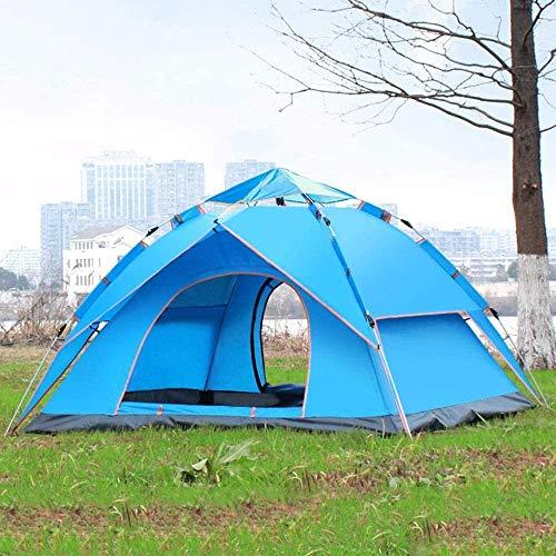Hochwertiges Zelt Gewächshaus Zelt Outdoor-Camping-Zelt-Camping-Zelt im Freien schnelles Öffnen 3-4 Personen Wasserdicht Familienzelt mit Tragetasche for das Wandern Reise Kuppelzelt (Color : Blue)