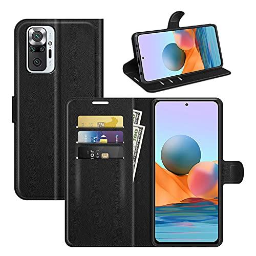 betterfon | Xiaomi Redmi Note 10 Pro Hülle Handy Tasche Handyhülle Etui Wallet Hülle Schutzhülle mit Magnetverschluss/Kartenfächer für Xiaomi Redmi Note 10 Pro Schwarz