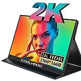 COOLHOOD - Monitor portátil de 13,3 pulgadas, 2560 x 1600 Full HD, con USB C HDMI tipo C, pantalla externa para ordenador portátil, PC, Raspberry Pi, Mac, Xbox PS4, conmutador con funda protectora