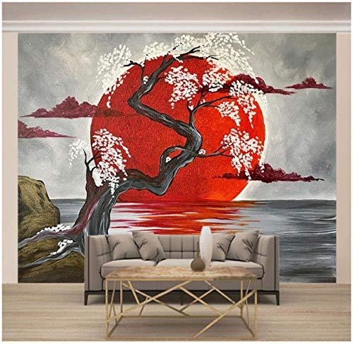Fototapete Roter Sonnenbaum der japanischen Art 250x175cm Tapete Fototapeten Vlies Tapeten Vliestapete Wandtapete moderne Wandbild Wand Schlafzimmer Wohnzimmer Architektur