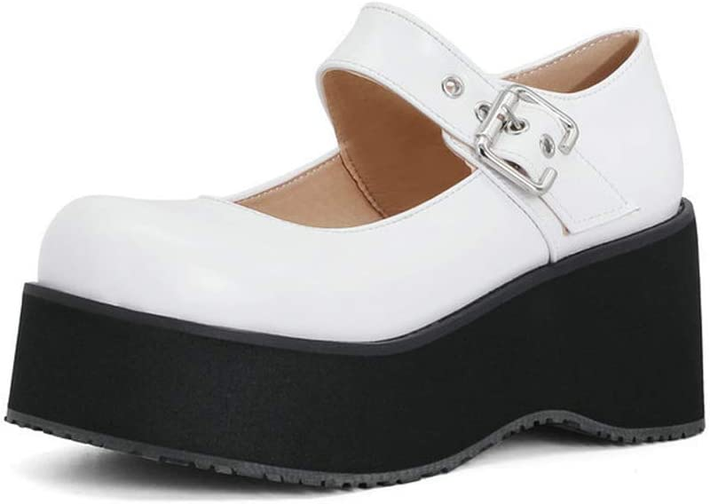 Charmstep Women Mary Jane Pumps Wedges High Ankle Strap Platform National uniform free shipping Sale item