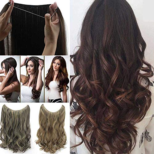 Ombre Hair Extensions Brown Long Natural Wavy Curl Curly Halo Flip Natural Synthetic Hairpiece Hidden Wire Crown Headband Hair Pieces For Women Heat Friendly Fiber
