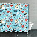 Shower Curtain,Veterinary Vet Clinic Flat Animals Wildlife Dog Fabric Bathroom Decor Set
