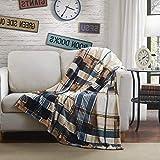 Tache Home Fashion Winter Cabin Throw Blanket, 66x90, Tan/Blue
