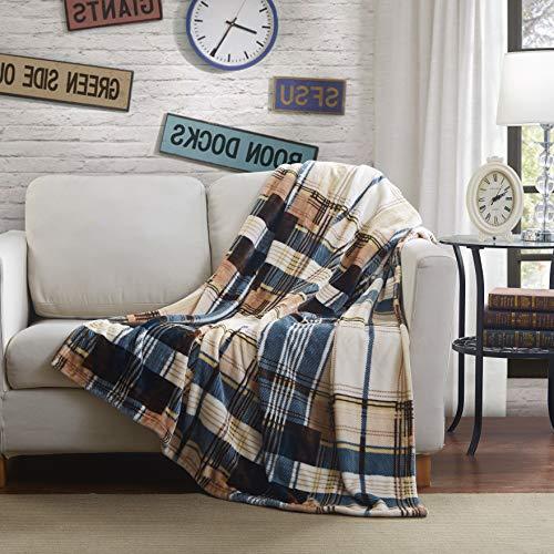 Tache Home Fashion Winter Cabin Throw Blanket, 63x90, Tan/Blue