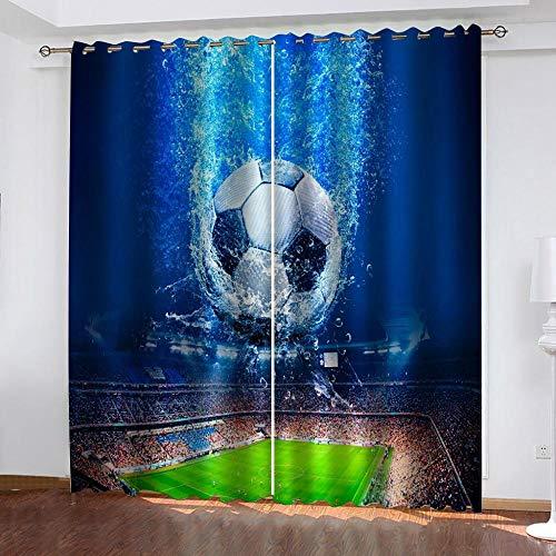 ZZDXL Cortinas Habitacion Fútbol Azul Cortinas Dormitorio Moderno Resistente Al Calor Y La Luz Cortinas Cocina con Ojales Cortinas Opacas para Habitación Decorativa 150 X 166 Cm