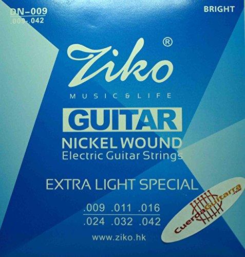 2 Juegos de cuerdas marca Ziko para guitarra eléctrica Modelo DN-009 Calibre: 009-042 NIKEL