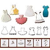 Stampini per biscotti con stencil abbinati, set di 12 – 6 stampini per biscotti e 6 stencil per biscotti, include bretelle, gonne, matrimoni, abito nero, bambina, tutù e vestito da principessa.