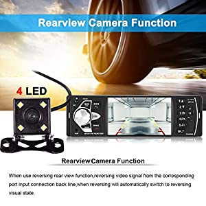 Bluetooth Car Stereo Radio with 4.1″ Touchscreen & Rear View Camera, Car MP5 Player Radio Universal HD Touch Screen Universal Multimedia Player, Steering Wheel Control, Rear View Camera