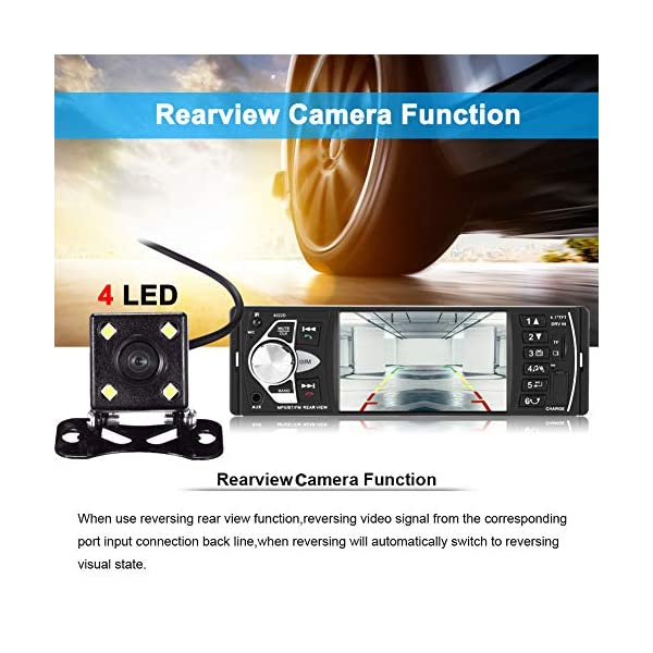 """Bluetooth Car Stereo Radio with 4.1"""" Touchscreen & Rear View Camera, Car MP5 Player Radio Universal HD Touch Screen Universal Multimedia Player, Steering Wheel Control, Rear View Camera 4"""