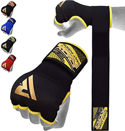 RDX Boxbandagen Boxen Elastisch Innenhandschuhe MMA Handschuhe Daumenschlaufe, Schwarz, L