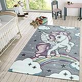 TT Home Kinder Teppich Moderner Spielteppich Einhorn Sternen Design Mit Wolken Grau, Größe:160x230 cm