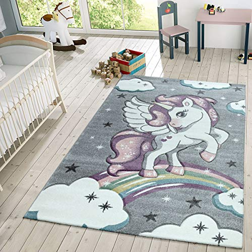 TT Home Kinder Teppich Moderner Spielteppich Einhorn Sternen Design Mit Wolken Grau, Größe:80x150...