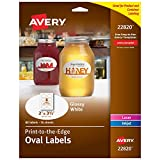 Avery Oval Labels with Sure Feed Laser & Inkjet Printers, 2' x 3-1/3', 80 Glossy White Labels (22820)