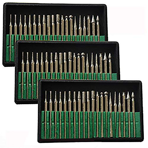 MTP Tm 60 Pcs Diamond Burr Bits Drill Glass Gemstone Metal for Dremel Craftsman Rotary Tool 1/8' Shanks w/ Box Tip