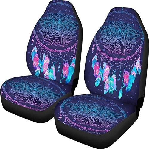 PZZ BEACH Purple Mandala Lotus Trippy Indian Dream Catcher Print Auto Interior Decorativo Fundas de asiento de coche Protector de asiento delantero - Juego de 2 piezas Universal Fit Vehicles