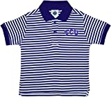 Texas Christian University TCU Horned Frogs Striped Polo Shirt by Creative Knitwear, Purple/White, 4T
