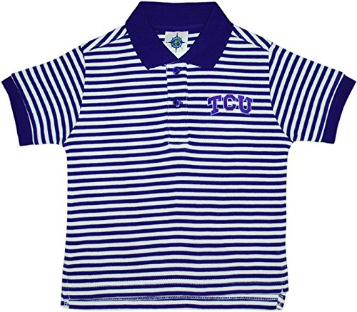 Texas Christian University TCU Horned Frogs Striped Polo Shirt by Creative Knitwear, Purple/White, 4T