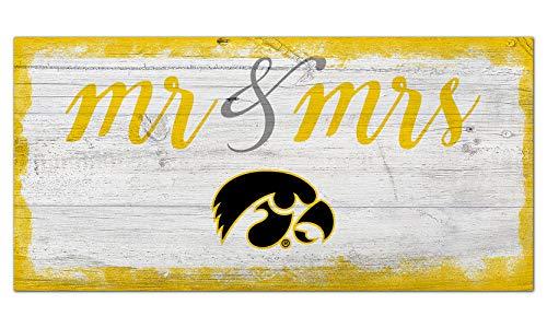 Fan Creations NCAA Iowa Hawkeyes Unisex Iowa Script Mr & Mrs Sign, Team Color, 6 x 12