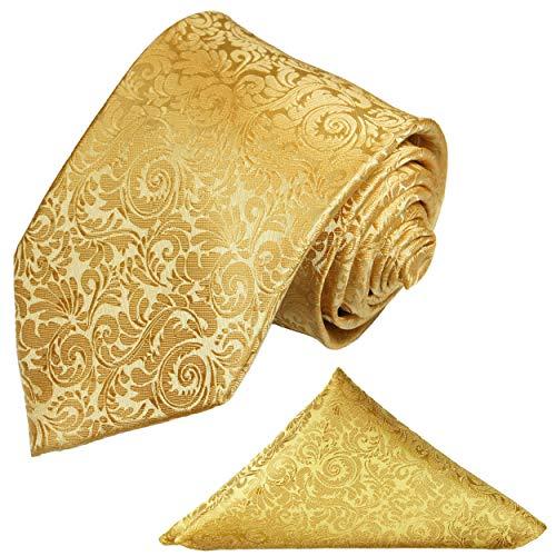 Paul Malone Goldenes Krawatten Set barock 2tlg Krawatte gold mit Einstecktuch