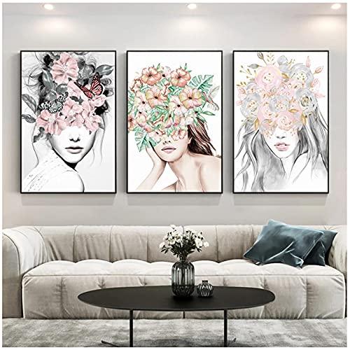 Cuadro Lienzo 60x80 cm 3 Piezas sin Marco nórdico Abstracto Flor Chica Lienzo Pintura Arte impresión Cartel Minimalista Imagen para Sala de Estar decoración del hogar