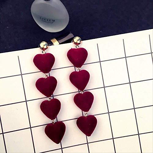 FANGQI - Pendiente Sexy de uñas largas, Bolas de Pelo Rojo Licor