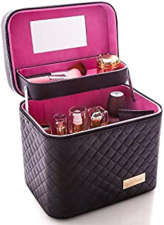 Sooyee Professional Makeup Train Case with Mirror - Cosmetic Studio Box Designed To Fit All Cosmetics Make Up Bag Organizer Train Case for Women (BLACK)