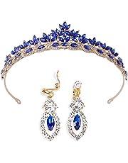 Brinote novia boda corona y tiaras con pendiente hoja reina cristal diademas vintage accesorios para el cabello nupcial joyería conjunto para mujeres y niñas