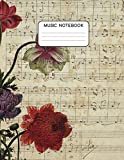 Music notebook: Music Writing Notebook For Kids | Manuscript paper | 12 staves per page | 100 pages | Large format 8.5x11| Vintage Music flower cover