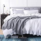 Bedsure Grey Throw Blanket for Couch, Knit Woven Chenille Blanket for Twin Bed , 60 x 80 Inch - Super Soft Warm Decorative Gray Blanket with Tassels for Chair, Sofa and Living Room