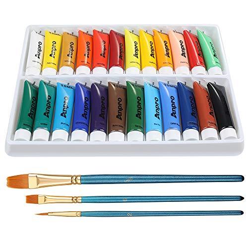 Anpro 24 Tubes Peinture Acrylique 15 ML 3PCS Pinceau de Peinture à l'huile Peinture Acrylique pour Papier,Toile,Bois,Céramique,Peinture Murale Cadeaux Noël Anniversaire pour Débutant Artiste Enfant