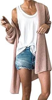 Shusuen Women's Solid Color Open Front Long Knited Cardigan Sweater for Women