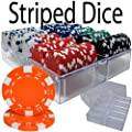 200 Ct Striped Dice 11.5 Gram Poker Chip Set in Acrylic Chip Tray With Lid