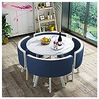 テーブルと椅子の組み合わせモダンデザインレジャー表80センチメートルの大理石円卓のシンプルなスタイルホームバルコニーリビングルームベッドルームオフィスレセプションデスクと椅子セット1テーブルと4チェアダイニング (Color : Navy blue)