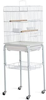 Yaheetech 46.5'' White Metal Bird Cage Parrot Cockatiel House Stand On Wheels with 3 Front Doors/Bottom Tray/Bottom Shelf