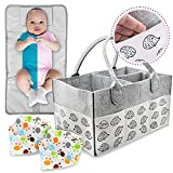 Baby Diaper Caddy Organizer-WITH CHANGING PAD-For Baby Girl Or Baby Boy-Changing Table Or Car Caddie-Large Grey Felt-Baby Shower Essentials-Fits Buggy Pushchair-Removable Insert Compartments-Travel, Washable (Gift Wrap Available)