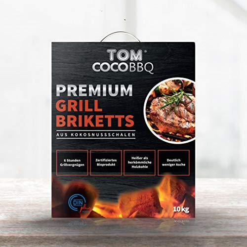 TOM COCO BBQ 10KG Premium Grillbriketts aus Kokosnussschalen, Schwarz