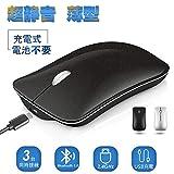 Wsky ワイヤレスマウス Bluetooth マウス 静音 無線 マウス USB充電 人間工学 超薄型 光学式 2.4GHz 3DPIモード 高精度 持ち運び便利 Mac/Windows/surface/Microsoft Proに対応 (ブラック)