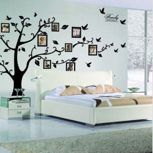 Zooarts Vinilo adhesivo con diseño de arbol negro con pájaros foto extraíble, para decoración de sala de estar, habitación y hogar